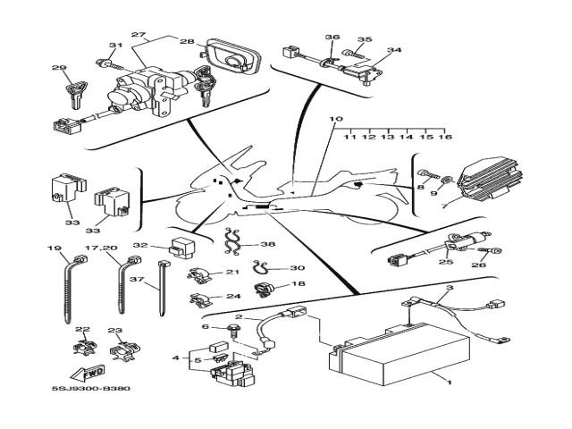 sistema electrico completo yamaha majesty 250 2003