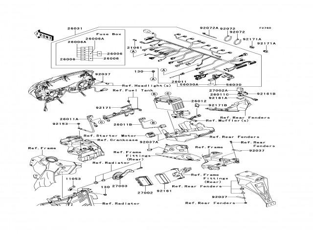 claxon kawasaki zx6r 600 - 636 cc 2005