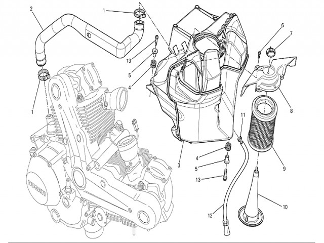 Caja Filtro De Aire Ducati Monster 696 2008 2011