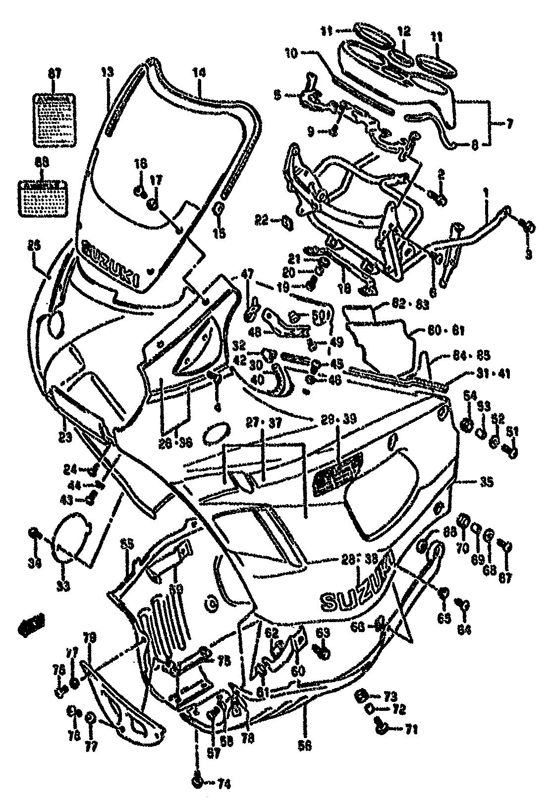 union carenado superior suzuki gsx f 750 1989