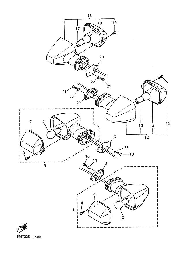 intermitente trasero izquierdo yamaha r6 600 cc 2001